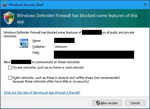 Windows Firewall Block per Unknown Publisher with Bad ClickOnce Deployment