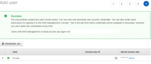 Downloading the Security Credentials of the New User in IAM